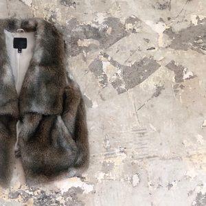 Joie Mirela Faux Fur Silk Lining Brown Vest